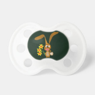 Funny Artsy Bunny Rabbit Holding Daffodil Flowers Pacifier