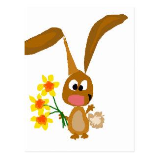 Funny Artsy Bunny Rabbit Holding Daffodil Flowers Postcard