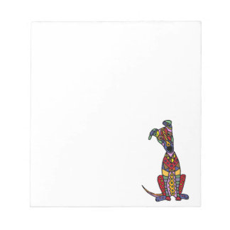 Funny Artsy Greyhound Dog Abstract Art Notepad