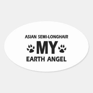 funny asian semi-longhair  design oval sticker