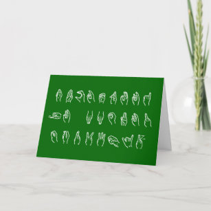 funny asl no l white on green for christmas card - How To Sign A Christmas Card