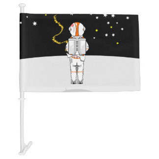 Funny Astronaut Caught Short Weeing In Space Car Flag