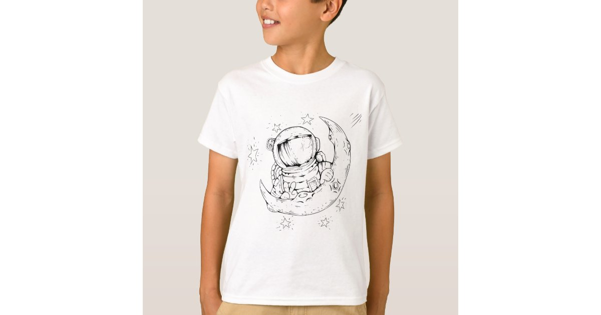Funny Astronaut On The Moon Design T-Shirt | Zazzle.com