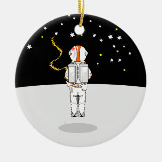 Funny Astronaut Weeing at Zero Gravity on Moon Ceramic Ornament
