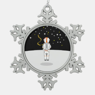 Funny Astronaut Weeing at Zero Gravity on Moon Snowflake Pewter Christmas Ornament