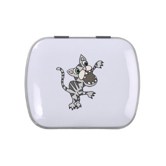 Funny Attack Cat Cartoon Jelly Belly Candy Tin