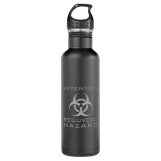 Funny attention biohazard sign parody water bottle