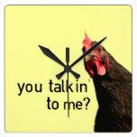Funny Attitude Chicken Square Wallclock