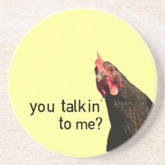 Funny Attitude Chicken - you talkin to me Drink Coaster