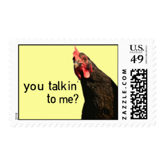 Funny Attitude Chicken - you talkin to me? Stamp
