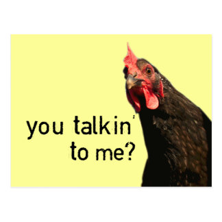 Funny Attitude Chicken - you talkin to me? Postcard