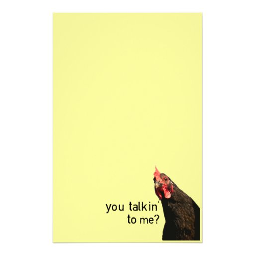 Funny Attitude Chicken - you talkin to me? Custom Stationery