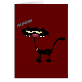 FUNNY ATTITUDE MEOW BLACK CAT CARTOON CHARACTER PE CARD