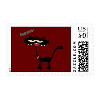 FUNNY ATTITUDE MEOW BLACK CAT CARTOON CHARACTER PE POSTAGE