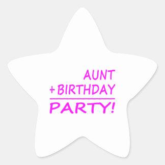 Funny Aunts Birthdays : Aunt + Birthday = Party Star Sticker