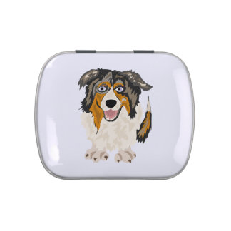 Funny Australian Shepherd Dog Art Candy Tin