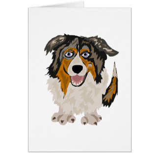 Funny Australian Shepherd Puppy Dog Original Art Card