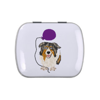 Funny Australian Shepherd with Balloon Art Jelly Belly Tin