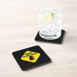 Funny Australian Sign. Beware of Drop Bears. Beverage Coaster