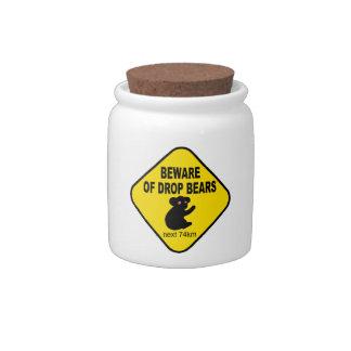Funny Australian Sign. Beware of Drop Bears. Candy Jars
