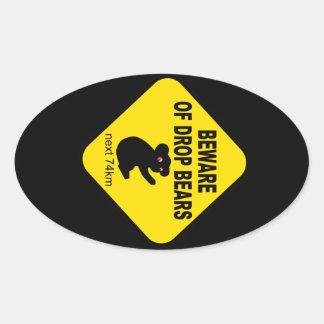 Funny Australian Sign Beware of Drop Bears Oval Sticker