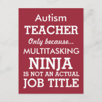 Funny Autism Special Needs Teacher Postcard