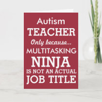 Funny Autism Special Needs Teacher Thank You Card