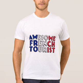 Funny Awesome French Tourist Flag Paris Typography T-Shirt