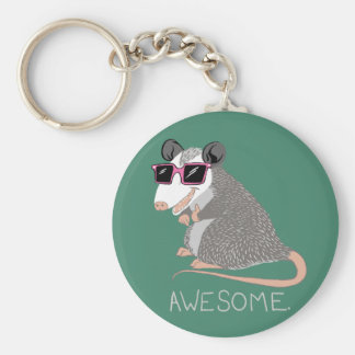 Funny Awesome Possum Basic Round Button Keychain