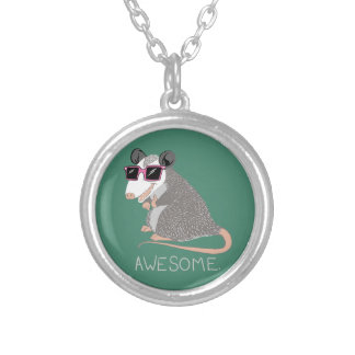 Funny Awesome Possum Round Pendant Necklace