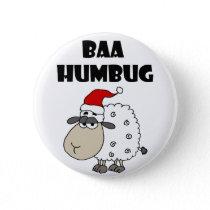 Funny Baa Humbug Christmas Cartoon Button