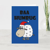 Funny Baa Humbug Christmas Cartoon Holiday Card