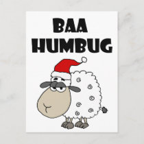 Funny Baa Humbug Christmas Cartoon Holiday Postcard