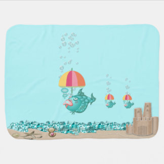 Funny Baby Blanket with Sand Castle and Baby Fish