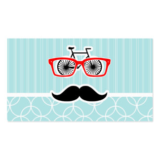 Funny Baby Blue Hipster Mustache Business Card