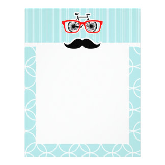 Funny Baby Blue Hipster Mustache Letterhead Template