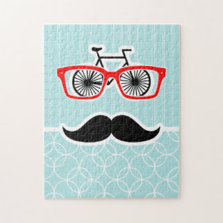 Funny Baby Blue Hipster Mustache Puzzles