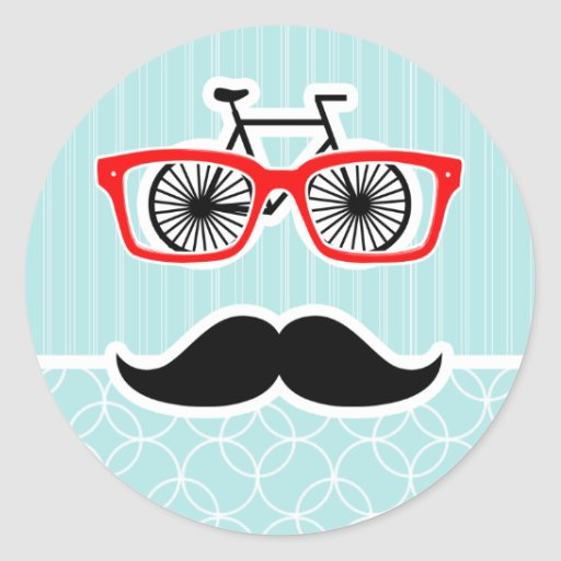 Funny Baby Blue Hipster Mustache Classic Round Sticker