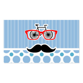 Funny Baby Blue Mustache; Hipster Business Card Templates