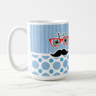 Funny Baby Blue Mustache; Hipster Coffee Mugs