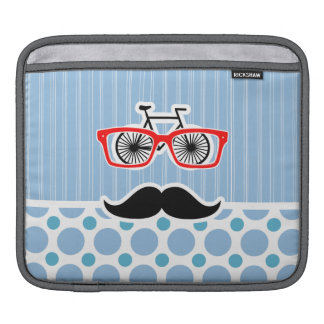 Funny Baby Blue Mustache; Hipster iPad Sleeve