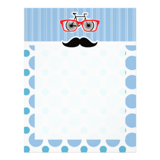 Funny Baby Blue Mustache; Hipster Personalized Letterhead