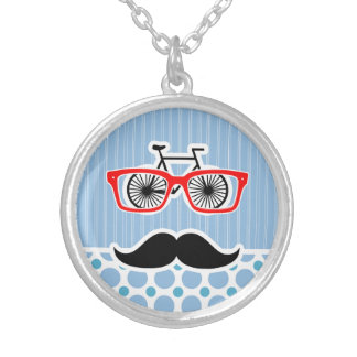 Funny Baby Blue Mustache; Hipster Necklaces