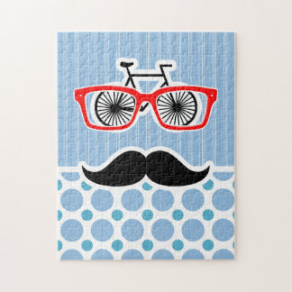 Funny Baby Blue Mustache; Hipster Puzzle