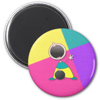 Funny Baby Bowler 2 Inch Round Magnet