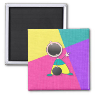 Funny Baby Bowler 2 Inch Square Magnet