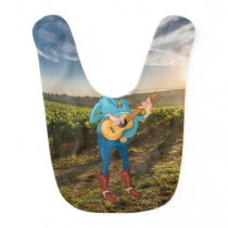 Funny Baby Boy on the Farm Playing Guitar Bib