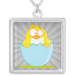 funny baby chick hatching from egg square pendant necklace
