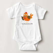 Funny Baby Clothing Farm Animal Rooster w/Mustache Baby Bodysuit