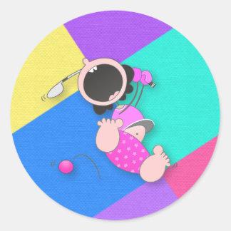 Funny Baby Golf | Funny Baby Golfer Classic Round Sticker